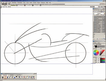 Predictivestrokes:AliasStudio can recognize what you're trying to draw and create your strokes as precise lines, curves, and ellipses, even with a mouse.