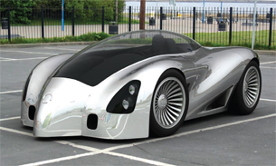Photoreal rendering of a concept automobile, integrated into a photographed environment.