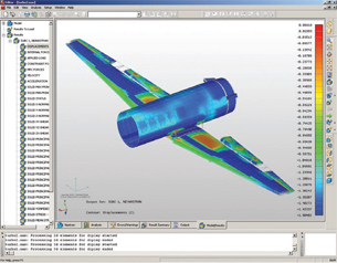 This is an NEi Nastran Tension-Only Quad Element analysis specifically created to model highly nonlinear behavior of load transfers in wing and fuselage structures.