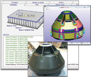 HyperSizer software offers extremely detailed structural analyses of mechanical designs, as in this NASA composite crew capsule design, when using composites of numerous types.