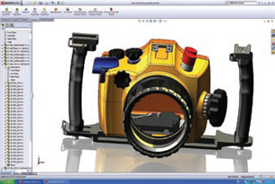 Model of an SLR camera case shown with SolidWorks 2008 RealView display mode enabled.