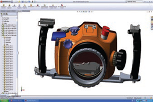 Model of the same SLR camera case shown with SolidWorks 2008 RealView display mode disabled.