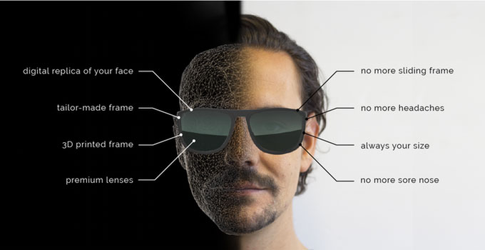 Boulton Eyewear creates 3D data from photos of the face then prints a pair of eyeglasses custom to the client using an EnvisionTec DLP 3D printer. (Source: Boulton Eyewear).
