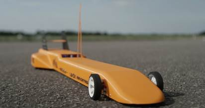Built for speed, this 3D printed RC car is four feet long and can go faster than 100 mph. Courtesy of Ultimaker.