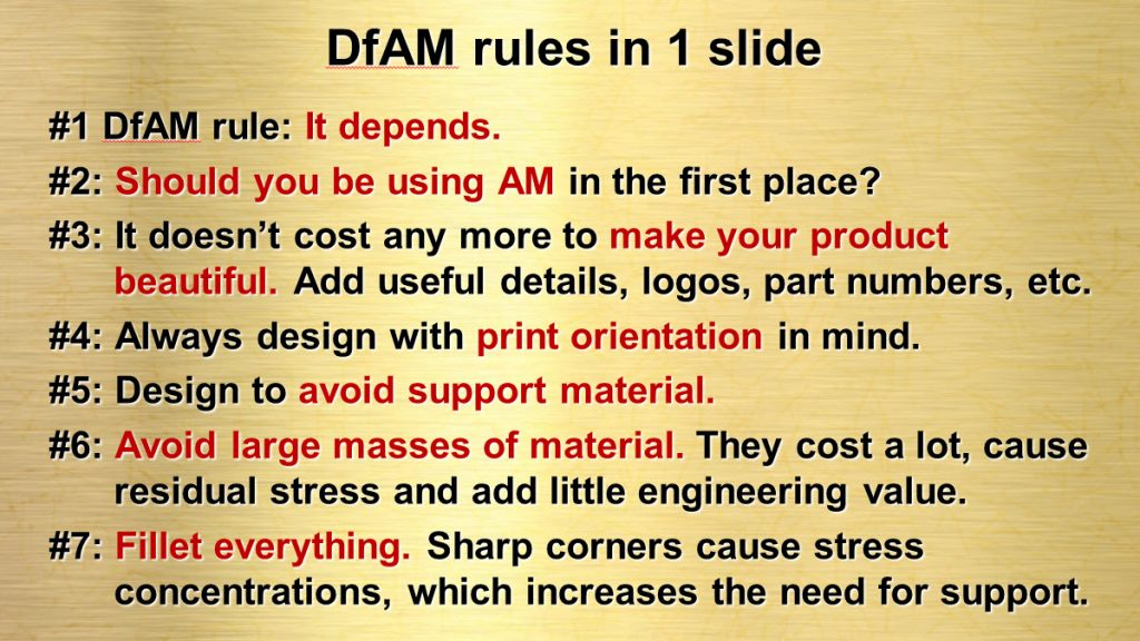 Design for Additive Manufacturing - the Rules on a Single Page. (Image courtesy Olaf Diegel and Wohlers Associates)