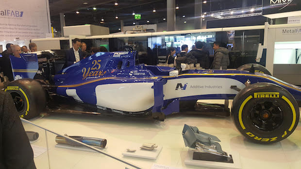 No European engineering trade show is complete without at least one Formula 1 race car on the exhibition floor. Additive Manufacturing used this Sauber Team F1 mockup to demonstrate the capabilities of its new MetalFab1 multi-material metal printing system.