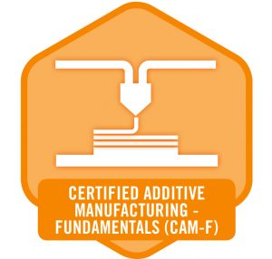 Digital badge awarded to those who complete the Fundamentals in Additive Manufacturing Certification exam. The new program, a joint venture of UL, Tooling U-SME and America Makes, will help validate and develop the AM workforce. (Image courtesy Tooling U-SME)