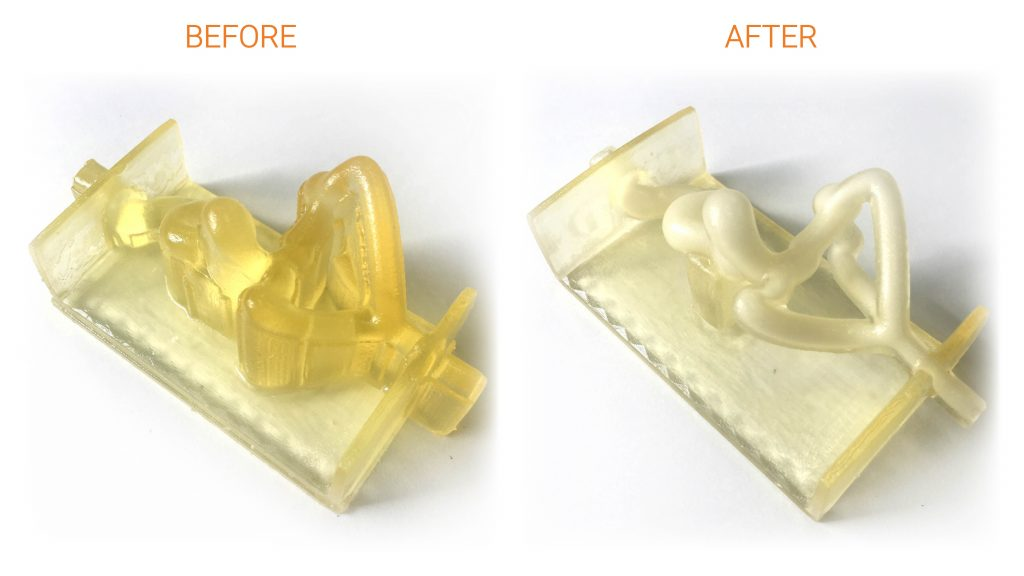 Before and after PostProcess' automated support-removal performed on a vascular model. The part was 3D-printed in Vero build material and 706 support material on a Stratasys PolyJet system. (Image courtesy PostProcess)