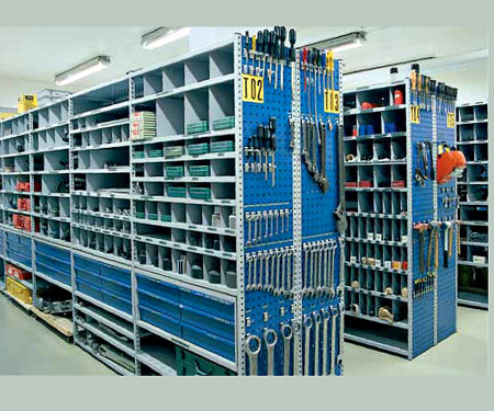 Typical manufacturing plant tool crib, with organized and traceable parts and supplies for maintenance, repair and operations. (Image courtesy PSMI/Azoth)