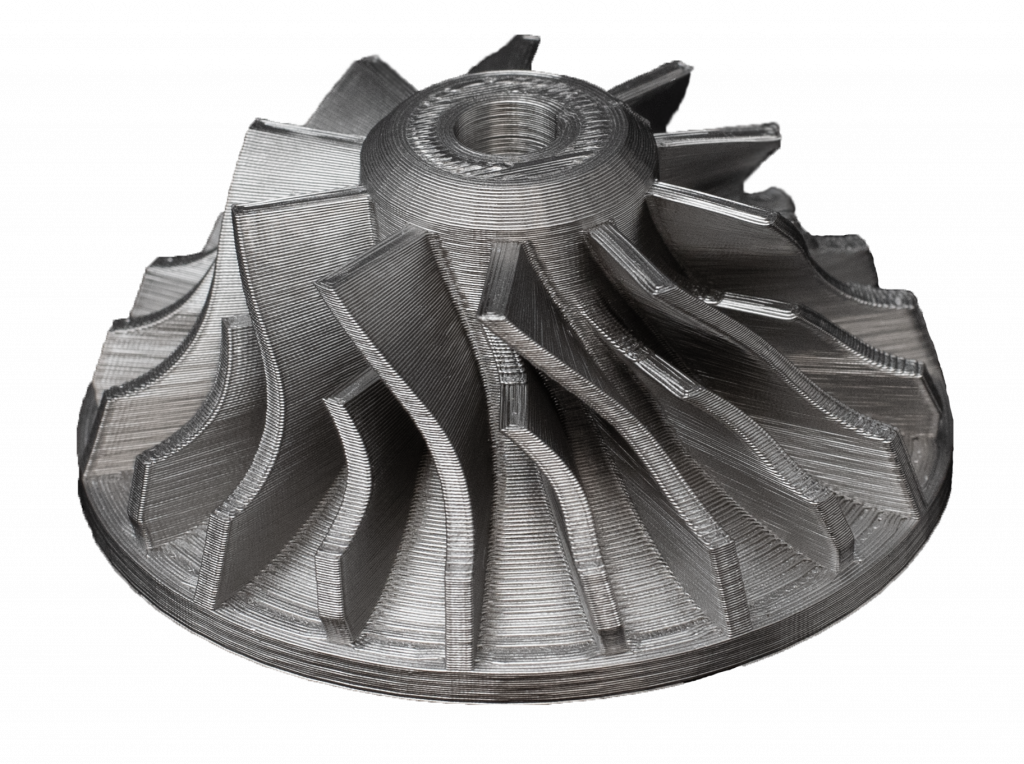 Metal impeller additively manufactured in 17-4 PH stainless steel on a Markforged Metal X printer. (Image courtesy Markforged)