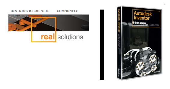 In its case against SolidWorks, Autodesk argues SolidWorks' Real Solutions campaign logo (loft) amounts to trade dress infringement because it combines Autodesk's RealDWG tagline and an element of the Autodesk Inventor logo (right).