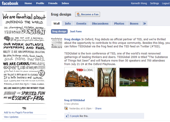 Reaching out to a creative, innovative firm like Frog Design can be as simple as joining its Facebook page, commenting on its blog posts, or connecting to its LinkedIn profile.