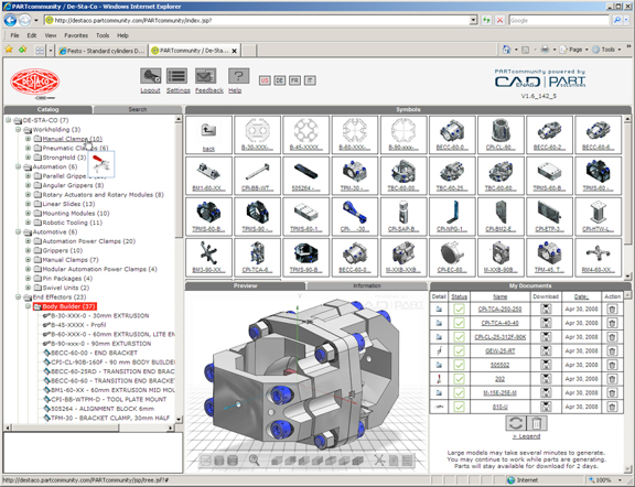 PARTsolutions' PARTcommunity, as implemented by Dastaco in its Web-hosted portal for standard parts.