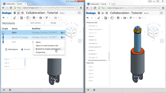 OnShape's Google doc-like dual-editing feature for collaboration.