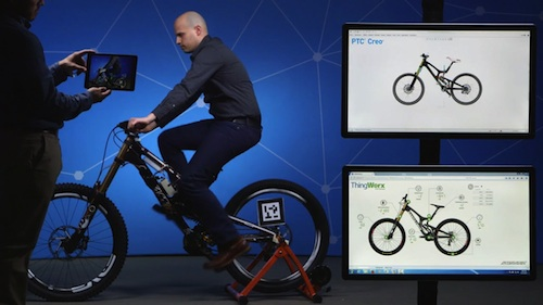 PTC's technology demonstration at LiveWorx 2015 used augmented reality and a sensored mountain bike to show what's possible with smart, connected products. Image Courtesy of PTC