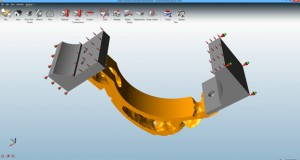 Optimized shape with a reduction in material, as calculated by solidThinking Inspire software.