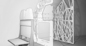 This Airbus partition is conceived using custom algorithms that generate cellular structures and bones. The structure is stronger and more light-weight than would be possible using traditional processes, according to the joint announcement by Autodesk and Airbus (image courtesy of Autodesk).