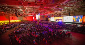 A view of the SolidWorks World 2016 keynote assembly.
