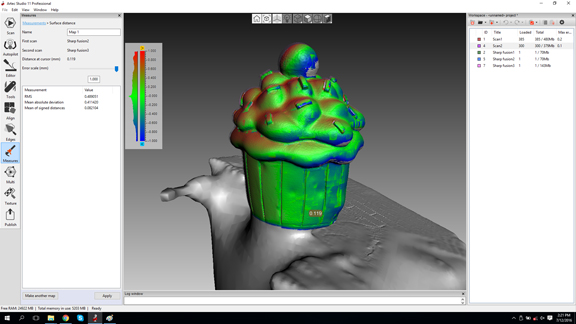 The comparison feature in Artec Studio 11 highlighting the contour and surface deviations detected between two scans.