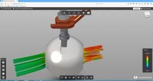 SimulationHub displays CFD results in flow tubes, flow vectors, surface pressures, and other values.