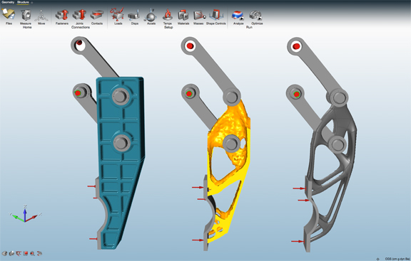 solidThinking INSPIRE, a topology optimization software for desktop users, will soon be available in a cloud-hosted version as INSPIRE Unlimited, announced Altair at its debut solidThinking CONVERGE event. (Image show solidThinking INSPIRE for desktop, courtesy of Altair.)