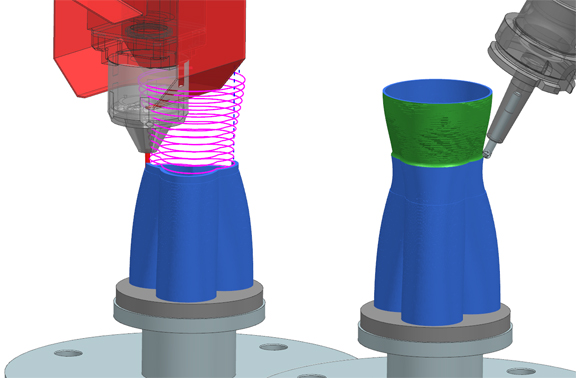 Siemens' NX Hybrid Additive Manufacturing provides laser and NC programming with simulation for the DMG MORI Lasertec machine tool series where metal deposition is incorporated with machining methods on a single machine so new classes of parts with complex geometries and interior cavities can be easily manufactured in a single setup.