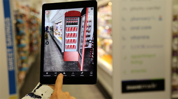 Seeing what's not there -- an example of the use of augmented reality to understand product placement. (image courtesy of Augment).