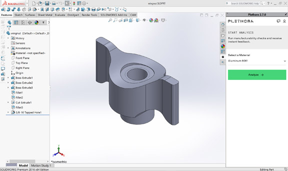 SOLIDWORKS-embedded Plethora plugin analyzing a part for manufacturing issues (image courtesy of Plethora).