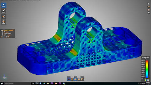 Engineering insights are displayed in seconds, including Instantaneous display of stress distribution on complex STL lattice structures. Image Courtesy of ANSYS