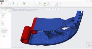 The new Creo Topology Optimization Extension automatically creates optimized designs based on a defined set of objectives and constraints. Image Courtesy of PTC