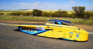 The University of Michigan's Solar Car team hopes to beat its second place showing at the 2017 World Solar Challenge as it heads to the American Solar Challenge this July. Image Courtesy of Akhil Kantipuly, UM Solar Car Media Producer