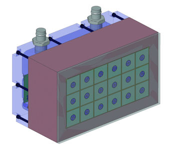 Figure 3: Closely packed SONAR array, which includes a magnetostrictive transducer at its core. From left to right: a single magnetostrictive SONAR transducer; the transducer packaged with power electronics; and the full array, made up of 18 transducer elements.