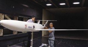MIT and NASA engineers test a 1/11th scale model version of the D8 airliner concept in the 14-by-22-ft. Subsonic Wind Tunnel at NASA's Langley Research Center. Image courtesy of NASA Langley/Kathy Barnstorff.