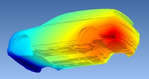 Pressure distribution around a car body due to a sound source at the exhaust orifice is pictured. Image courtesy of Volvo.