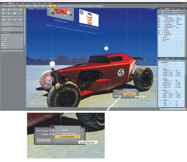 Objects in MODO can be linked to web pages, external files or scene controls.