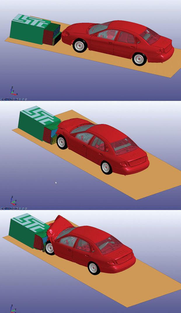 simulated car crash