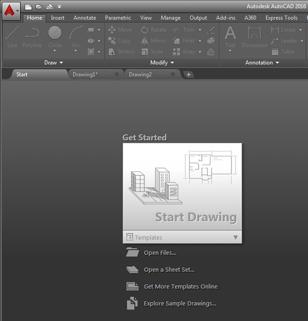 how to show the new tab in autocad 2016