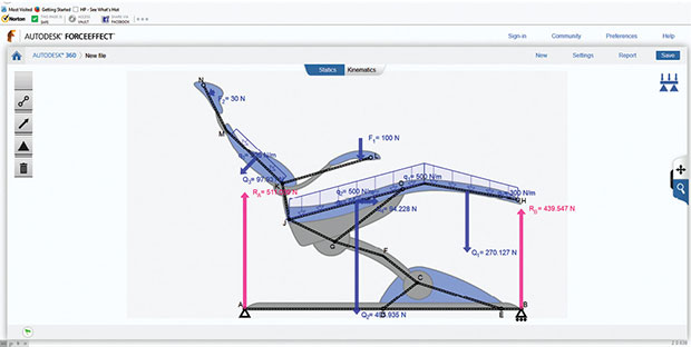 From a Web- and mobile-friendly interface, Autodesk ForceEffect lets you calculate stress, loads and displacements using simple 2D diagrams that represent product structures.
