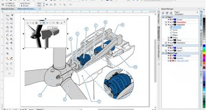 CorelDraw Technical Suite X7 introduces a redesigned user interface. One of the features it offers is the ability to choose predefined workspaces or create a custom workspace for specific workflows. Image courtesy of Corel Corp.
