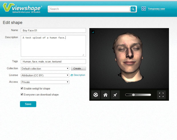 A scanned face published on Viewshape.