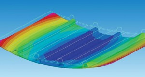 A composite aeronautical fuselage panel, showing residual stresses and geometrical deformations, as analyzed with ESI's PAM-DISTORTION software. The result displayed is the deformation of the part observed after curing. Image courtesy of ESI Group.