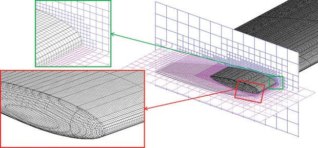 The FloEFD mesh with local refinement on the rotor blade surface. Image courtesy of Mentor Graphics.