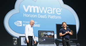 Ben Fathi, CTO at VMWare (left) and Jen-Hsun Huang, NVIDIA CEO (right) at NVIDIA GPU Technology Conference 2014, announcing NVIDIA GRID would run on the VMware Horizon DaaS Platform. Image courtesy of NVIDIA.