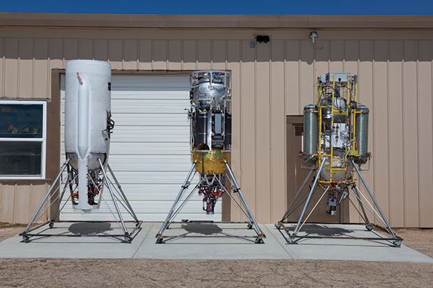 Masten rockets from left to right: Xaero-B, Xodiac and Xombie. Image courtesy of Chad Slattery.