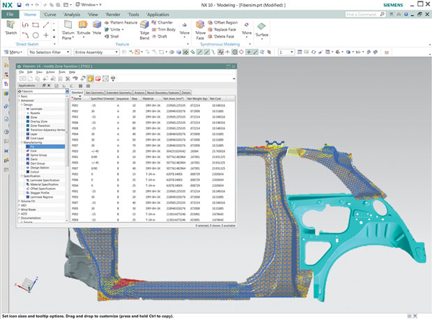 """The weight of each defined layer of a composite is identified for a vehicle's """"B"""" pillar design, specified with Siemens Fibersim software, for a model analyzed with Siemens NX 10 software. Image courtesy of Siemens PLM Software."""