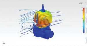 Flow results for an air-cooled engine modeled in ANSYS AIM. Image courtesy of ANSYS.