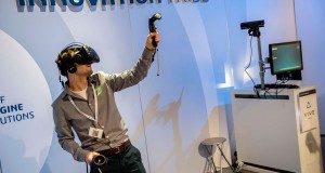 Conference attendees could try out the HTC Vive virtual reality immersive system. Image courtesy of Dassault Systèmes.