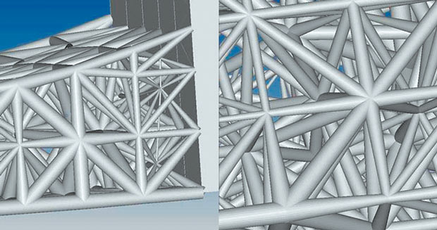 Tapered lattice beams modeled in OptiStruct. Image courtesy Altair Engineering.