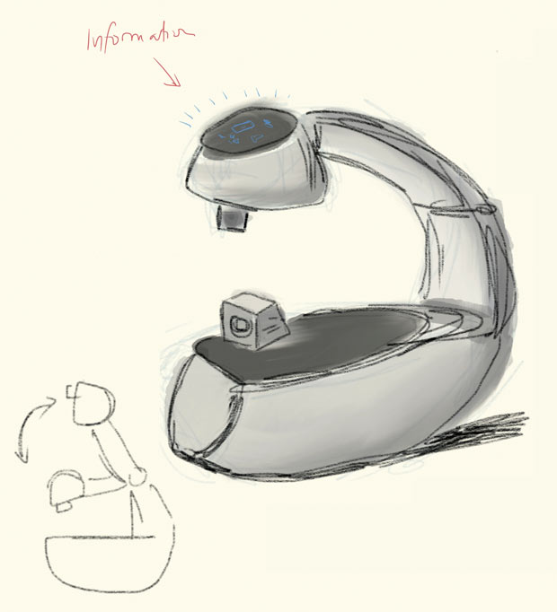 A sketch for the Vyo robotic interface is pictured. Image courtesy of Guy Hoffman.
