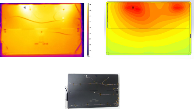 Figure 3: Modeling the heatpipe (bottom); comparison of IR camera image (left) and simulation with the CFD software FloTHERM XT. Image courtesy of Mentor Graphics.